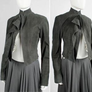 Haider Ackermann Gray Cropped Suede Draped Jacket